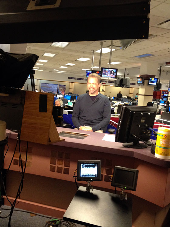 J.D. in the channel 9 newsroom