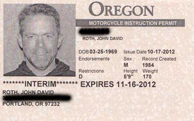 My motorcycle instruction permit