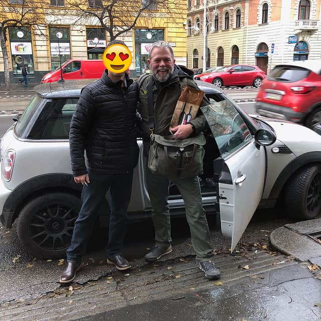 Ferenc greeting J.D. in Budapest