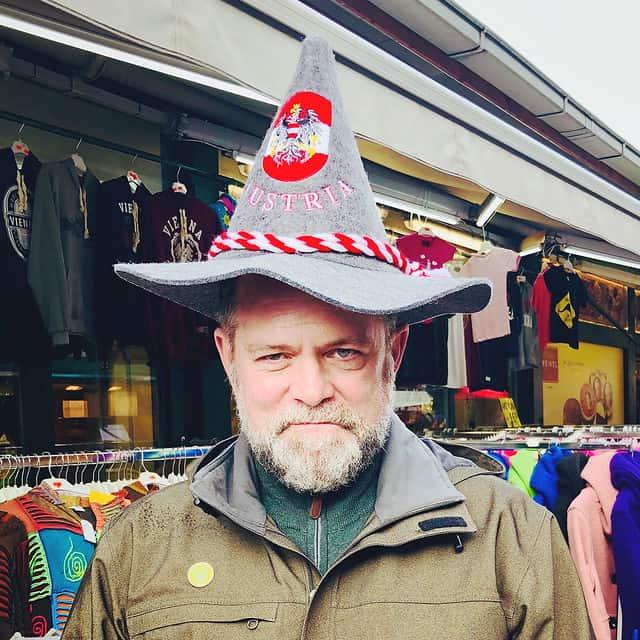 J.D., the grumpy elf (at the Naschmarkt in Vienna)