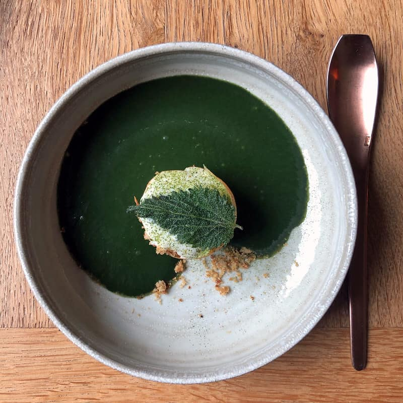 Fancy soup at a Michelin-star restaurant