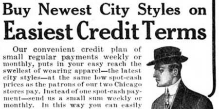 [ad for easy credit terms on a clothing purchase]