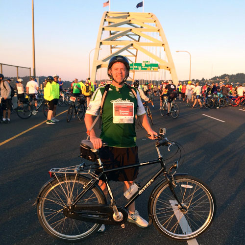 At the start of the Portland Bridge Pedal