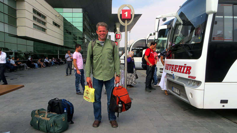 Getting ready to board the bus to Goreme