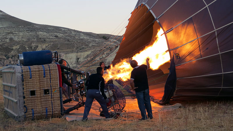 Inflating the hot-air balloon