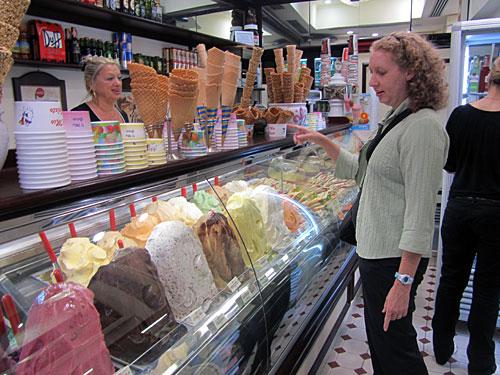 Kris ordering gelato, the food of the gods...