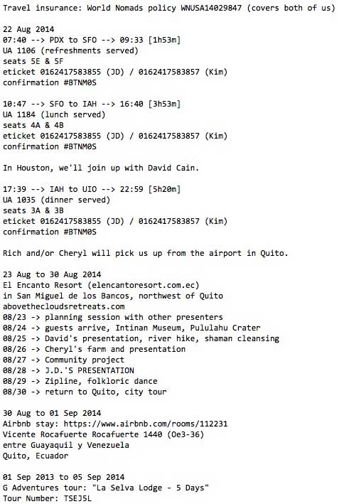 A sample travel itinerary