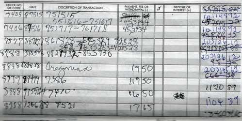 Mom's checkbook register