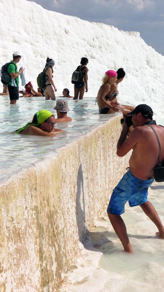 Posing for photos at Pamukkale
