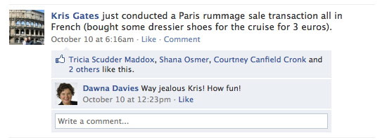 Kris posted to Facebook about her shoe-buying adventure.