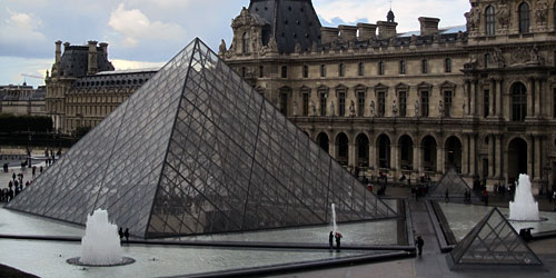 The pyramids outside the entrance to the Louvre