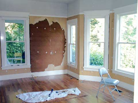 [Day one of the drywall project -- the parlor]