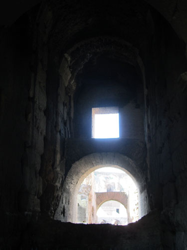 I liked looking down the tunnels into the Colosseum