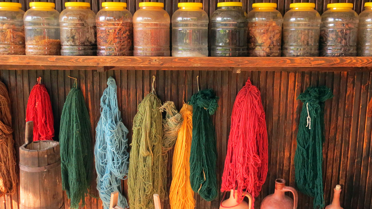 Yarn at the carpet shop.