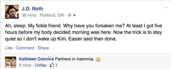Facebook post about lack of sleep