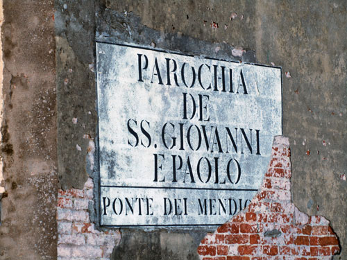 A typical Venetian street sign