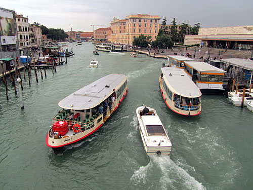 Water traffic on the Grand Canal in Venice